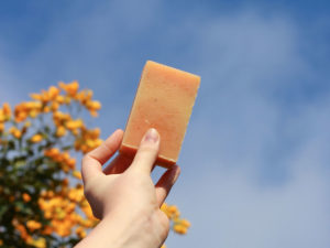 naturally coloured naartjie soap