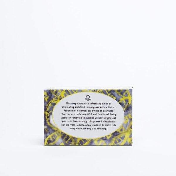 Lemongrass & Charcoal soap Back of box