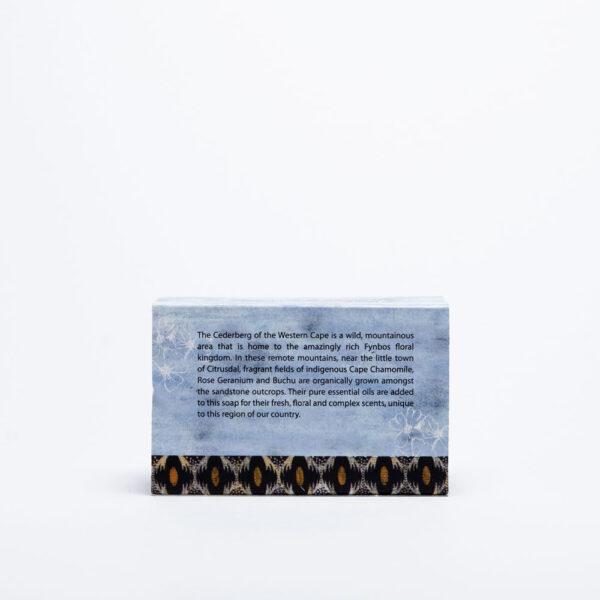 Cape Chamomile & Geranium soap Back of box