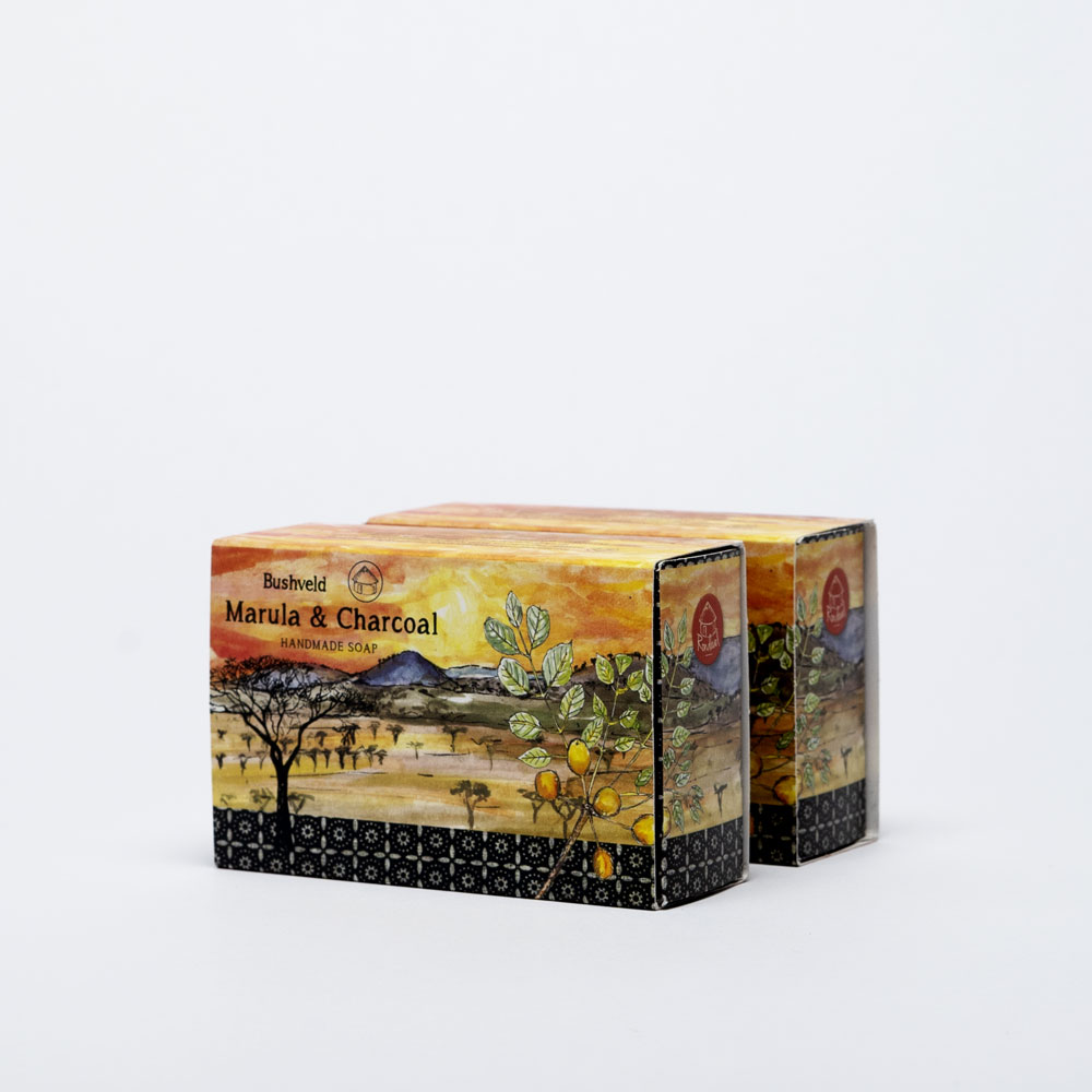 Marula and charcoal soap Side view two boxes