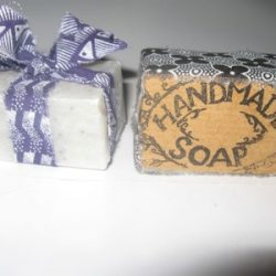 handmade soap bar wrapped in ribbon