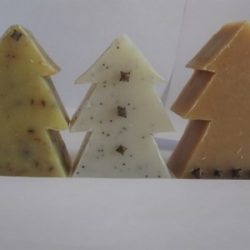 soap bars carved into christmas trees