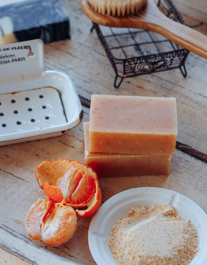handmade soap showing the ingredients used in the soap